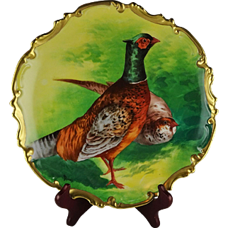 Coronet Limoges French China Porcelain Game Bird Charger - Artist Signed Duval