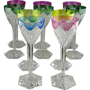 Ten Val St. Lambert Crystal Multi-Color Cut To Clear Wine Glasses - Signed