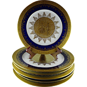 6 Pieces of Selb Bavaria Heinrich Porcelain - Gold & Cobalt - 5 Chargers, 1 Plate
