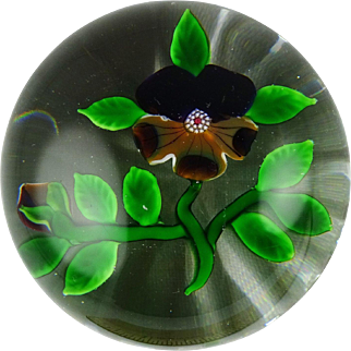 Baccarat Type III Pansy and Bud French Art Glass Paperweight