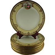 8 Ambrosius Lamm Studio Dresden Vintage Hand Painted Dinner Plates - Courtship Scenes with Elaborate Raised Gold Designs - Great