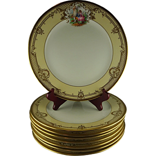 8 Ambrosius Lamm Studio Dresden Vintage Hand Painted Dinner Plates - Courtship Scenes with Elaborate Raised Gold Designs - Great