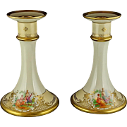 Pair Of Lamm Dresden Ornate Heavy Gold Gilt Candlesticks with Hand Painted Courting Scenes