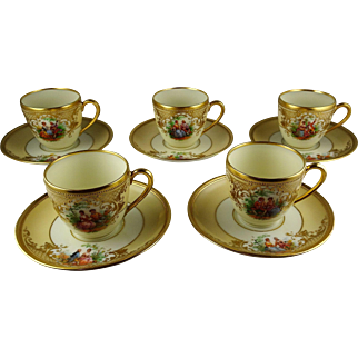 5 Ambrosius Lamm Courting Scenes Demitasse Cup & Saucer Sets - Hand Painted with Heavy Gold