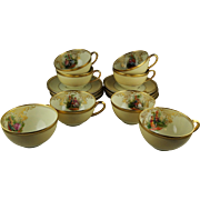 2 Ambrosius Lamm Dresden Cup and Saucer Sets - Courting Scenes - Heavy Gilt Gold Paste Embellishment