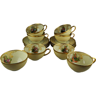 10 Ambrosius Lamm Dresden Cup and Saucer Sets - Courting Scenes - Heavy Gilt Gold Paste Embellishment