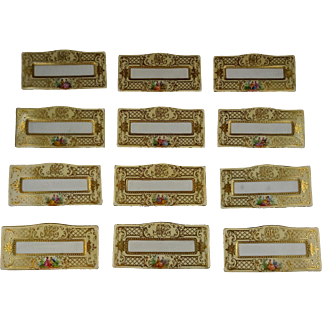 Set Of 12 Ambrosius Lamm Dresden Ornate Gold Courting Scene Place Card Holders Monogrammed