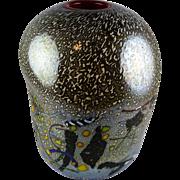 Kosta Boda Bertil Vallien Scandinavian Art Glass Vase 49531 Multicolor Pinched with Red Inner Rim Modern