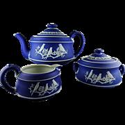 3 Pc. Wedgwood Jasperware Tea Set - Cream on Dark Blue - Birds