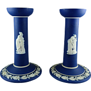 "Pair of Wedgwood Jasperware Dark Blue Candlesticks - Marked ""England"""