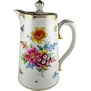 Dresden Porcelain Floral Coffee Pot with Lid - Multicolor Decoration with Gold Trim