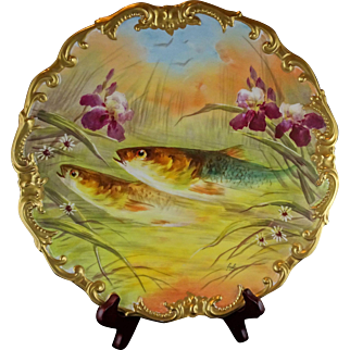 "Large 13"" Limoges French Porcelain Heavy Gold Fish Scene Artist Signed Charger Platter -  L.R.L. Factory Decorated"