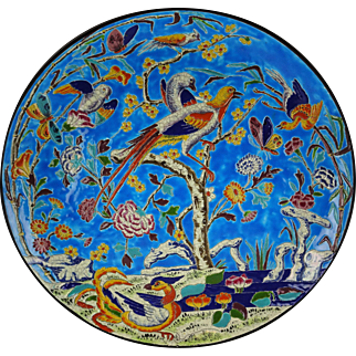 "Huge Rare 16"" Longwy French Faience Charger or Round Platter Birds and Flowers - Vivid and Impressive"