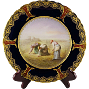 Haviland Limoges Hand Painted Artist Signed Soustre Porcelain Cabinet Plate - Women Working in Field - After Millet