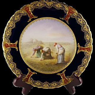 Haviland Limoges Hand Painted Artist Signed Soustre Porcelain Cabinet Plate - Women Working in Field - After Millet