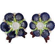 Rare Pair Of George Jones Majolica Oyster Plates - Cobalt with Green & Yellow Accents