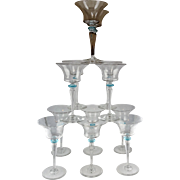 12 Steuben Art Glass Wine Goblets - Flared Bowls with Light Blue Finger Guards - Fleur-de-Lis Acid Mark
