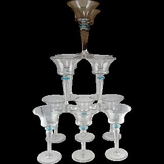 12 Steuben Art Glass Wine Goblets - Flared Bowls with Light Blue Finger Guards - Fleur-de-Lis Acid Mark