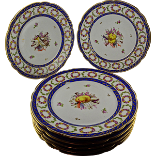 7 Rare Nyon Swiss Porcelain Plates Musical Themes 1781-1813 - Cobalt & Gold with Floral Garlands