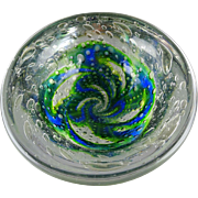Kosta Boda Warff Round Art Glass Modern Bowl Green Blue Pinwheel Bubbles Signed