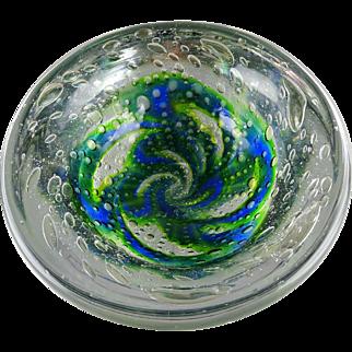 Kosta Boda Warff Round Art Glass Modern Bowl Green Blue Pinwheel Bubbles Signed