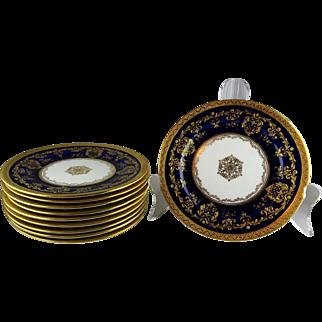 Ten Royal Doulton Antique Cobalt Raised Gold Encrusted Side Plates
