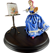 Royal Doulton figurine HN3012 The Gentle Arts Collection - Painting w/ Easel Wooden Base COA & Box