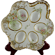 Theodore Haviland Limoges France Antique French Porcelain Egg Plate - Ornate Gold and Floral