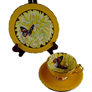 Aynsley Butterfly Trio in Yellow - Bone China - Very Rare - Gold Trim