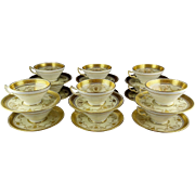12 Rare Antique Brilliant Gold Minton Mocha or Breakfast Cup & Saucer Sets for Philadelphia Retailer Bailey, Banks & Biddle
