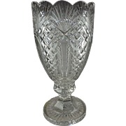 Rare Waterford Glass Statement Large Footed Vase Master Cutter Series - Made In Ireland - Excellent