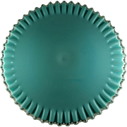 Rare Fenton Turquoise Silvercrest Footed Cake Stand Cake Plate - Great Condition - Lovely Color