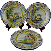 Rare Group Of Ten French Faience Hand Painted Art Pottery Plates - S. Clement France - Cherubs, Children, Maiden - Elaborate