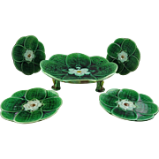 "Rare Adams and Bromley Majolica Green ""Water Lily"" Footed Plate + Four Unusual Small Side Plates"