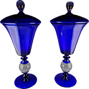 Rare Pair Of Cobalt Blue Pairpoint Glass Tall Lidded Urn Vases - Controlled Bubble Stems