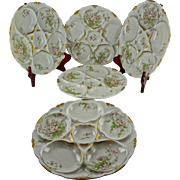 Five Theodore Haviland Limoges Oyster Plates - Schleiger 146, Blank 130 - Apple Blossoms - Classic Pattern