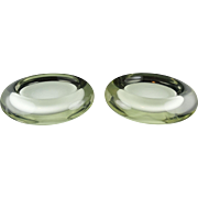Pair Of Venini Murano Italian Glass Modern Ashtrays - Milk Opalescent Centers Cased in Clear - Both Signed - Heavy & Impressive
