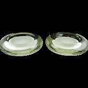 Pair Of Venini Murano Italian Glass Modern Ashtrays - Milk Opalescent Centers Cased in Clear - Both Signed - Heavy & Impressive