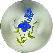 Lovely Paul Stankard Art Glass Paperweight - Blue Flower with Green Leaves - Signed and Dated 1972