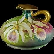 Vienna Austria Artist Signed Porcelain Antique Ewer Jug - Orchids - L. Morley - Gold Trim