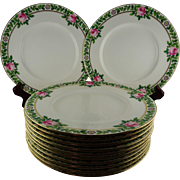 12 Antique Minton Luncheon Plates Hand Painted Pink Roses Leaf Verge Gold Accents & Trim