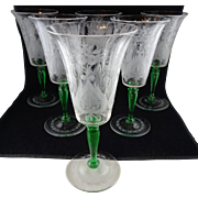 Set Of Six Steuben Glass Van Dyke Water Goblets - Engraved Pattern with Pomona Green Stems - Rare, Beautiful