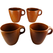 Set Of Four Roseville Raymor Terra Cotta #179 Handled Mugs Mid Century Modern Ben Seibel