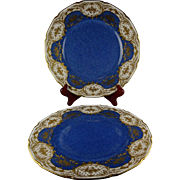 Pair Of Heavily Gilded Royal Doulton China Cabinet Plates Raised Gold with Roses and Blue Centers