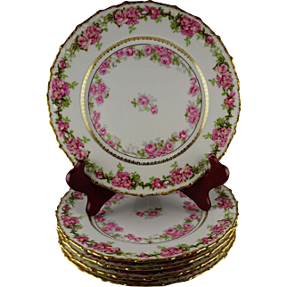 Five Redon Limoges Dessert or Salad Plates - Heavy Gold with Hand Painted Roses