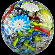 Large Murano Italian Glass Tightly Packed Millefiori Latticino Multi-Colored Paperweight