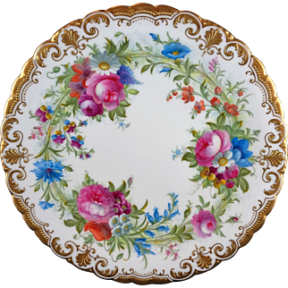 Cauldon Hand Decorated Artist Signed Cabinet Plate - Heavy Gold Ornate Trim - Multicolor Floral - B. Harrison