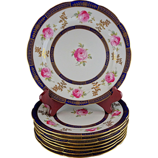 Set Of Eight Porcelain Luncheon or Dessert Plates - Cauldon England - Cobalt and Gold with Handpainted Roses
