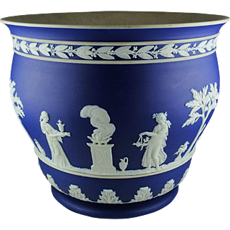 Antique Wedgwood Blue Jasperware Large Planter Vase Neoclassical Figures with Laurel Wreath