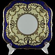 Set Of Twelve Noritake Morimura Ornate Heavy Gold & Cobalt Trim Square Scalloped Salad Plates